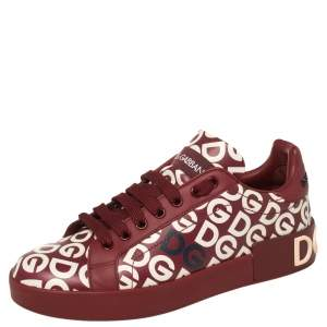 Dolce & Gabbana Red And White DG Mania Print Leather Low-Top Sneakers Size 37