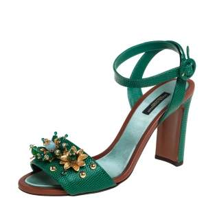 Dolce & Gabbana Green Lizard Embossed Leather Embellished Ankle Strap Sandals Size 39