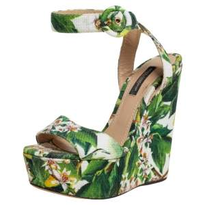 Dolce & Gabbana Multicolor Floral Printed Fabric Platform Wedge Sandals Size 35