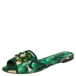 Dolce & Gabbana Green/White Banana Leaf-Print Fabric Crystal Embellished Flat Sandals Size 38.5