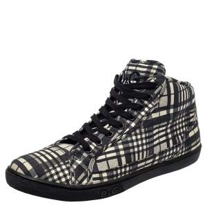 Dolce & Gabbana White/ Black Check Fabric High Top Sneakers Size 41