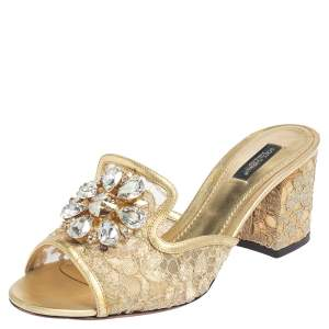 Dolce & Gabbana Metallic Gold Lace And Leather Crystal Embellished Block Heel Slide Sandals Size 39