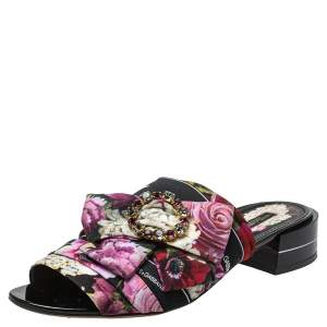 Dolce & Gabbana Multicolor Floral Printed Fabric Crystal Embellished Bow Open Toe Flat Mules Size 41