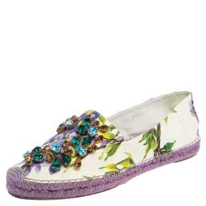 Dolce & Gabbana White Floral Print Canvas Embellished Espadrille Flats Size 41