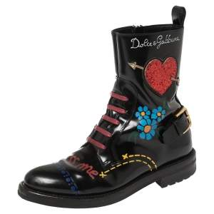 Dolce & Gabbana Black/Red Leather And Glitter Heart Kiss Me Ankle Boots Size 36
