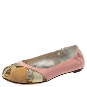 Dolce & Gabbana Pink Leather, Suede Ballet Flats Size 36