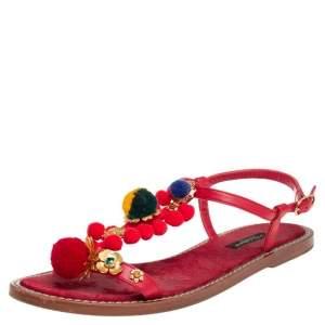 Dolce & Gabbana Red Leather Pom Pom Embellished Flat Sandals Size 38