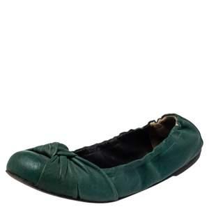Dolce & Gabbana Green Leather Bow Scrunch Ballet Flats Size 39