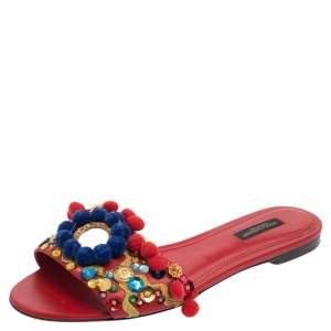 Dolce & Gabbana Red Leather Pom Pom And Mirror Embellished Flat Sandals Size 38