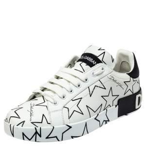 Dolce & Gabbana White/Black Leather Portofino Low Top Sneakers Size 38.5