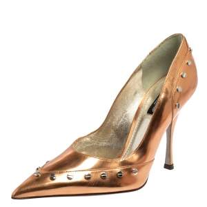 Dolce & Gabbana Metallic Bronze Leather Studded Pointed Toe Pumps Size 38.5