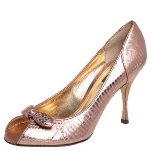 Dolce & Gabbana  Metallic Python Embossed Leather Peep Toe  Pumps Size 38.5
