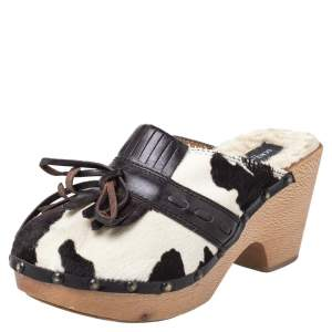 Dolce & Gabbana Brown Calf Hair And Leather Bow Fringe Detail Wooden Clogs Size 39