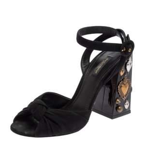 Dolce & Gabbana Black Canvas Crystal Embellished Block Heel Sandals Size 37