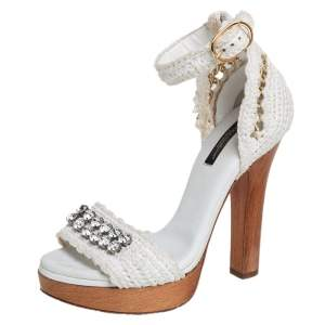 Dolce & Gabbana White Knitted Fabric and Straw Embellished Wooden Platform Sandals Size 37.5