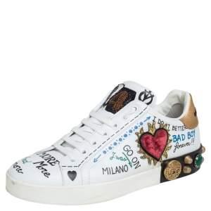 Dolce & Gabbana White Leather Graffiti Printed Portofino Low Top Sneakers Size 37.5