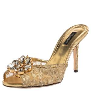 Dolce & Gabbana Gold Lace And Satin Sequin Keira Sandals Size 39