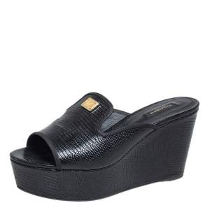 Dolce & Gabbana Black Lizard Embossed Leather Wedge Slide Sandals Size 39