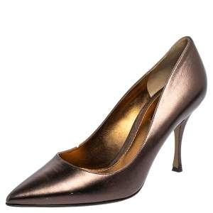 Dolce & Gabbana Metallic Bronze Leather Pointed Toe Pumps Size 38.5