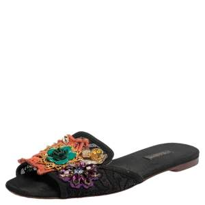 Dolce & Gabbana Black Lace And Canvas Crystal Flower Embellished Flat Slides Size 38