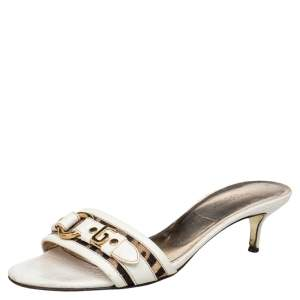 Dolce & Gabbana White Leather Open Toe Sandals Size 39.5