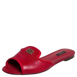 Dolce & Gabbana Red Lizard Leather Sandals Size 39