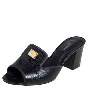 Dolce & Gabbana Black Lizard Embossed Leather Slide Sandals Size 37