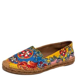 Dolce & Gabbana Multicolor Majolica Print Fabric Sip On Espadrilles Size 40
