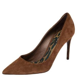Dolce & Gabbana Brown Suede Leather Pointed Toe Pumps Size 40