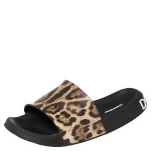Dolce & Gabbana Brown/Beige Leopard Print Leather Flat Slides Size 41