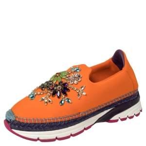 Dolce & Gabbana Orange Neoprene Barcelona Embellished Slip On Sneakers Size 38