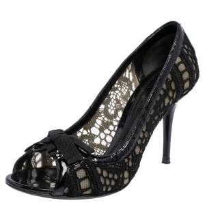 Dolce & Gabbana Black Fabric, Mesh  and Patent Leather Trim Open Toe Pumps Size 40