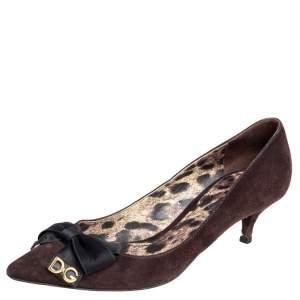 Dolce & Gabbana Brown Suede Kitten Heel Bow Pumps Size 37.5