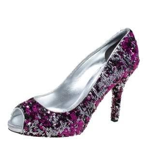 Dolce & Gabbana Pink/Silver Sequins Peep Toe Pumps Size 39