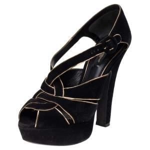 Dolce & Gabbana Black/Gold Suede Strappy Platform Sandals Size 36.5