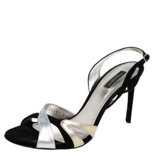 Dolce & Gabbana Silver/Black Leather and Suede Slingback  Sandals Size 39.5