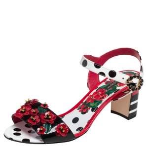 Dolce & Gabbana Multicolor Polka Dot Patent Leather Floral Embellished Ankle Strap Open Toe Sandals Size 41