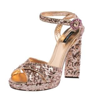 Dolce & Gabbana Rose Gold Sequin And Leather Platform Ankle Strap Sandals Size 40