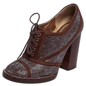 Dolce & Gabbana Brown Suede Crystal Embellished Block Heel Ankle Lace Boots Size 37