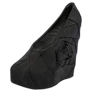 Dolce & Gabbana Black Pleated Fabric Floral Detail Wedge Platform Pumps Size 39