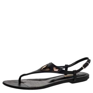 Dolce & Gabbana Black Leather T Strap Flat Sandals Size 38