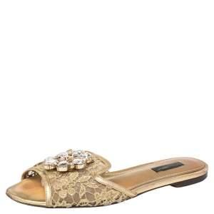 Dolce & Gabbana Gold Lace Sofia Crystal Embellished Slide Flat Sandals Size 38