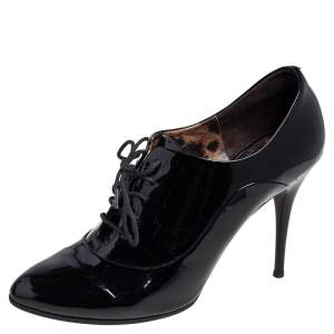 Dolce & Gabbana Black Patent Leather Lace Up Booties Size 40