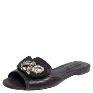 Dolce & Gabbana Black Lizard Embossed Leather Crystal Embellished Bow Flat Slides Size 37
