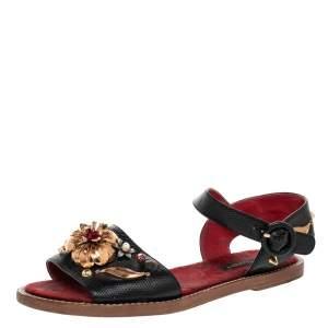 Dolce & Gabbana Lizard Embossed Leather Embellished Ankle Strap Flat Sandals Size 36
