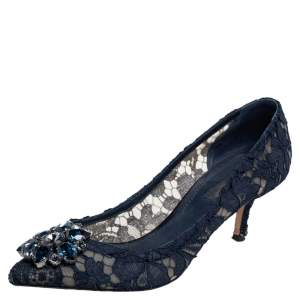 Dolce & Gabbana Blue Lace Bellucci Crystal Embellished Pointed Toe Pumps Size 37.5