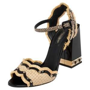 Dolce & Gabbana Black/Cream Raffia, Patent Leather and Snakeskin Studded Ankle Strap Sandals Size 37