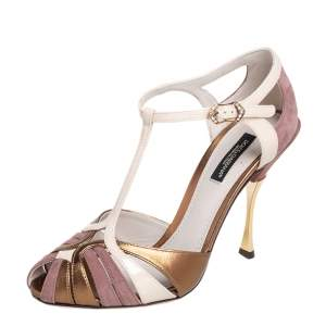 Dolce and Gabbana Multicolor Leather, Patent Leather and Suede Strappy Sandals Size 37