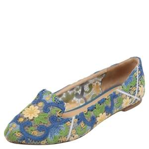 Dolce & Gabbana Multicolor Floral Lace Smoking Slippers Size 40