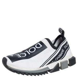 Dolce & Gabbana White/Black Knit Fabric Sorrento Sneakers Size 37